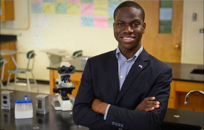 Harold Ekeh, a 17 year-old senior at Elmont Memorial Memorial High school earns acceptance into all 8 Ivy League Schools and MIT. (Photo Courtesy of Newsday.)