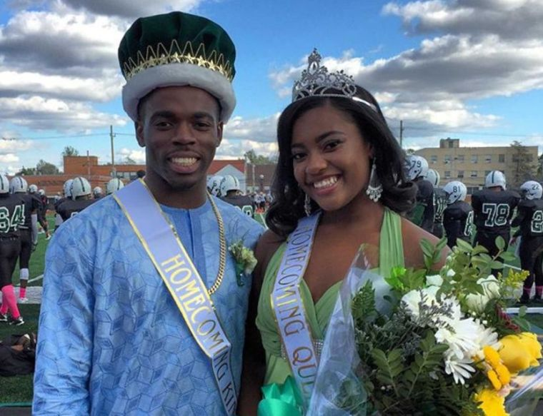 Elmont High School's 2015 homecoming king and queen, Joseph Olawoye and Kayla Babb, during ceremonies on Oct. 17, 2015. (Photo by Heather Doyle, Newsday.)