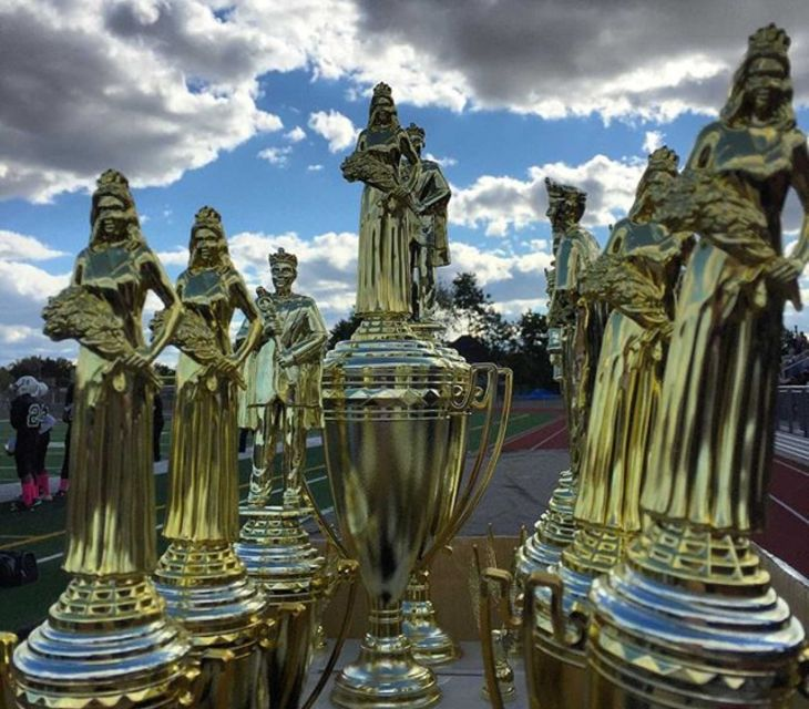 The Elmont High School Homecoming Court trophies. (Photo by Heather Doyle for Newsday.)