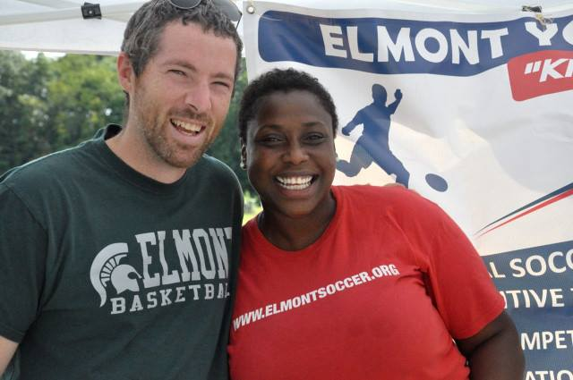 New Elmont Memorial Principal, Kevin Dougherty (left) is all smiles with a community member at the First Annual Elmont Family Fun Day on September 13th, 2015. (Source: Highlighting Success, Inc.)