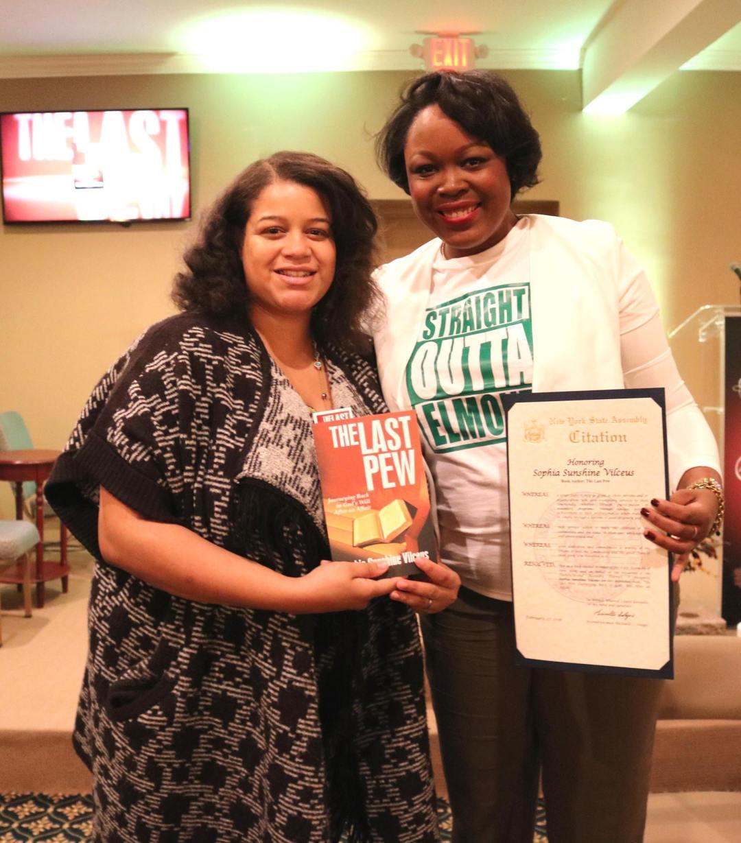 assemblywoman michaelle solages sophia sunshine vilceus author the last pew elmont excelsior