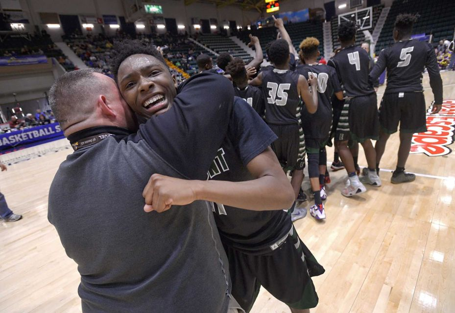 elmont spartans basketball new york state championship title glen falls troy adrian klaus newsday