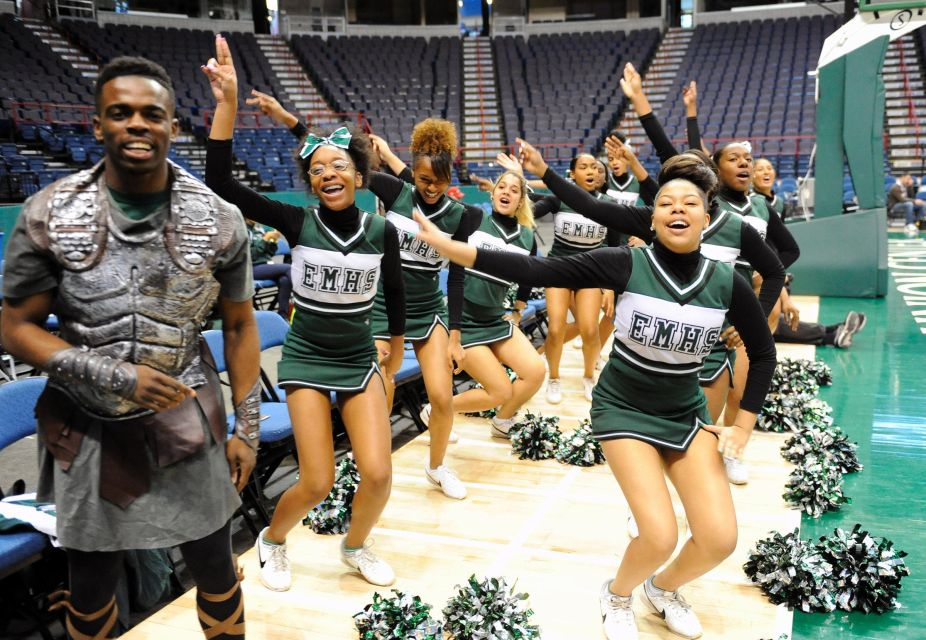 elmont spartans mascot and cheerleaders basketball