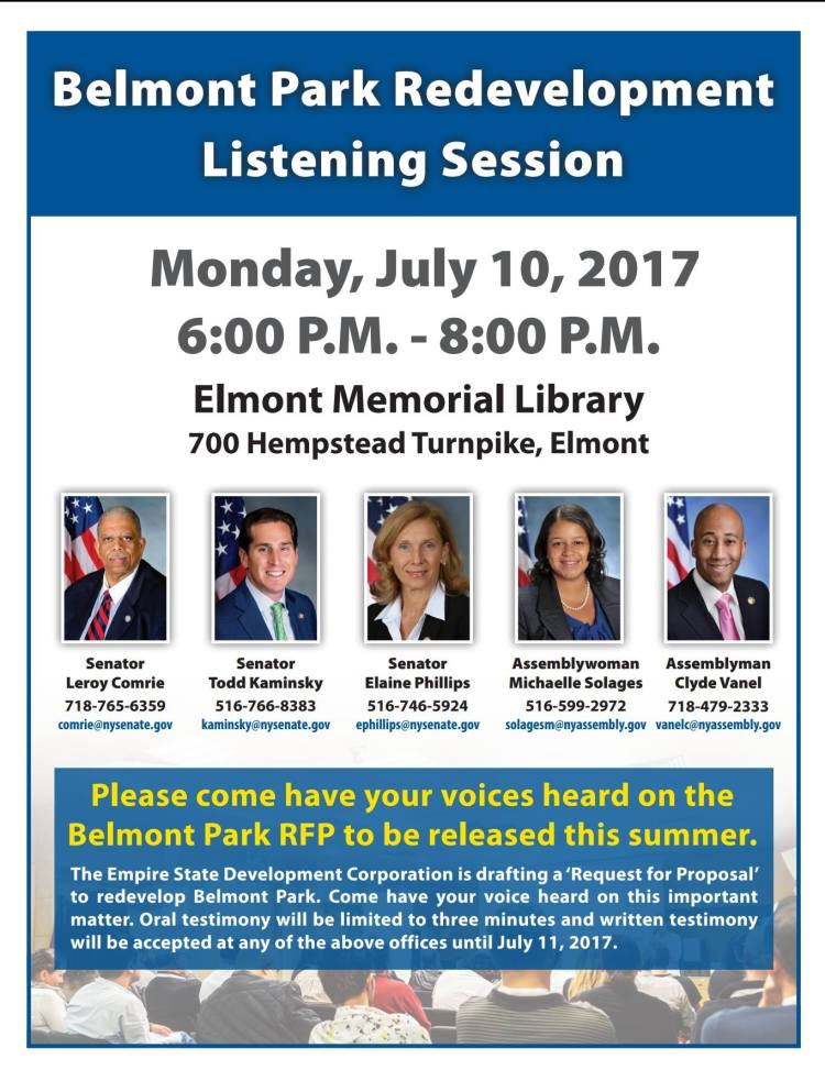 NYS Meeting in Elmont for Belmont RFP