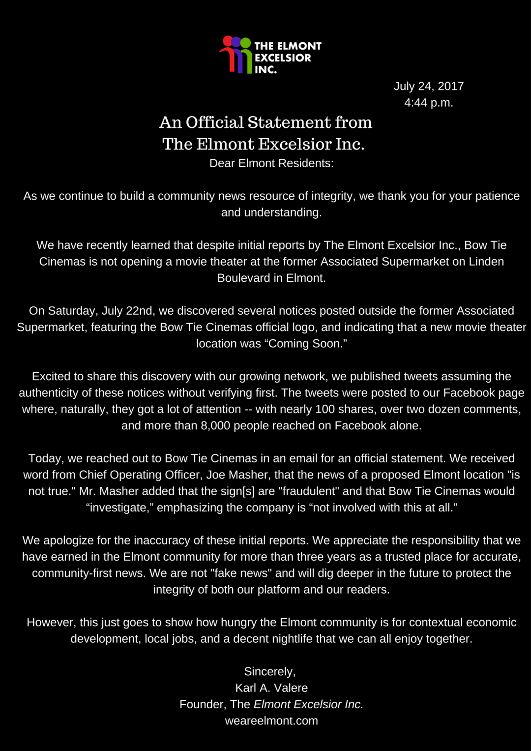 The Elmont Excelsior Inc - An Official Statement on Bow Tie Cinemas Movie Theater
